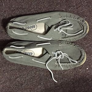 Olive Green canvas Sperry's