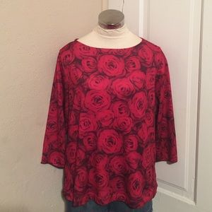 ONE WORLD Tops - Roses top size large