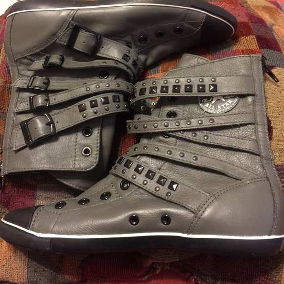 c766f12e6b9 Converse Shoes - Grey studded strappy buckle high top converse