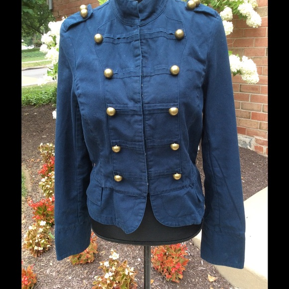 Women Military Style Jacket Brass Buttons Size 12