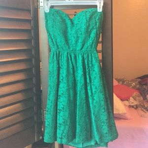 Green Lace Back Cut-Out Dress