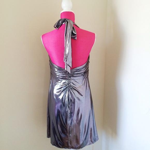Phoebe Couture Dresses - Phoebe Couture Silver Metallic Halter Mini Dress