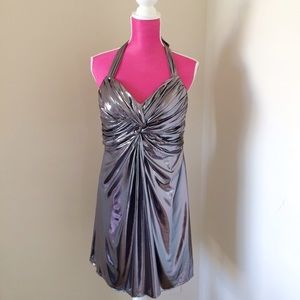 Phoebe Couture Dresses & Skirts - Phoebe Couture Silver Metallic Halter Mini Dress