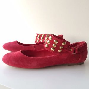 Kelsi Dagger Shoes - Kelsi Dagger Neeve Flats - Red Suede