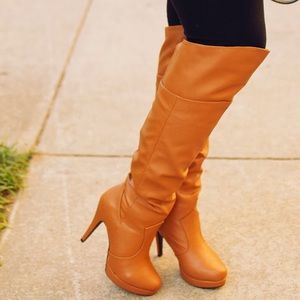 Shoe Dazzle Boots - Cognac Faux Leather Knee High Boots