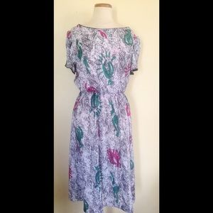 80s splash print dress vintage