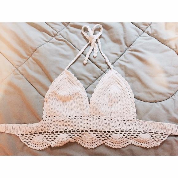 Urban Outfitters Tops Bohemian White Crochet Halter Bralette Top