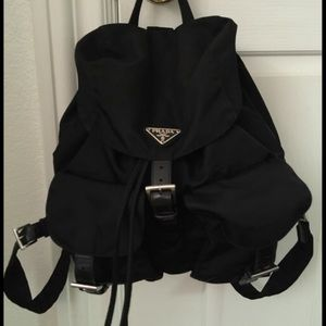 prada pink purse - 83% off Prada Handbags - Prada Small Black Nylon Vela Backpack ...