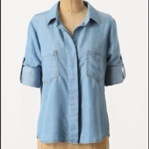 Anthropologie Elevenses Chambray Shirt