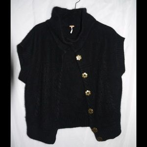 Free People Cozy Black Angora Wool Cardigan - L