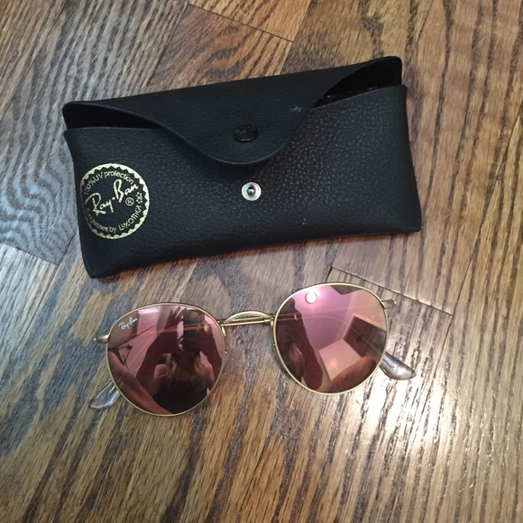 ray ban round flash copper