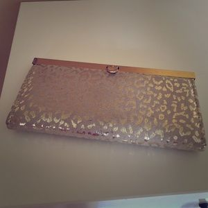 Gold leopard print wallet/clutch