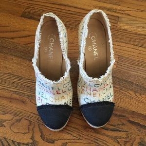 AUTHENTHIC CHANEL HEELED ESPADRILLES