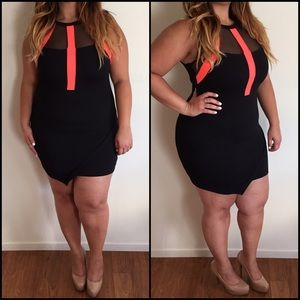 Dresses & Skirts - Black & Coral Clubby Dress*