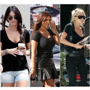 LNA Tops - LNA Black Scoop Neck Tee T-Shirt XS