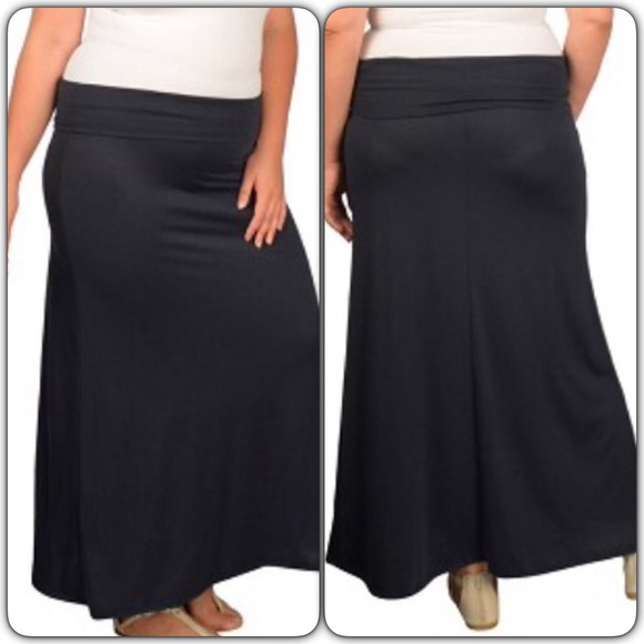 navy blue maxi skirt plus size 2x new 2x from liz s