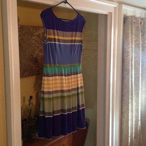 Multi Stripe fit flare dress