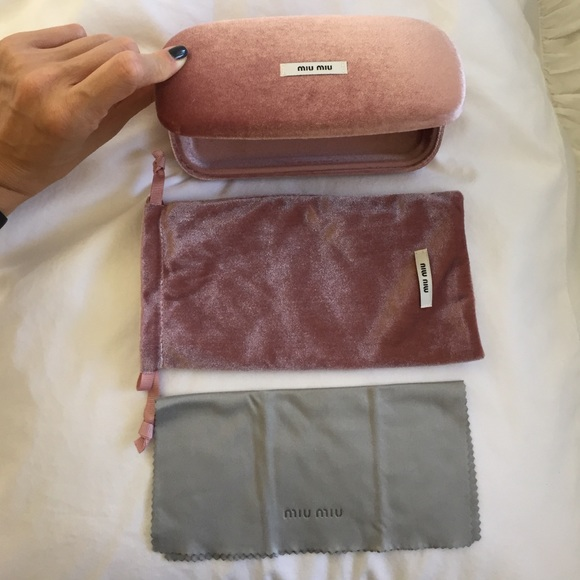 8bd0657fd9c Popular Miu Miu Pink Velvet Never Used Sunglasses Case
