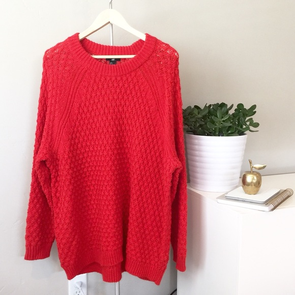33% off H&M Sweaters - 🍩 SOLD - H&M | Poppy Red Oversized Knit ...