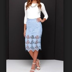 NEW sky blue periwinkle sheer lace midi skirt