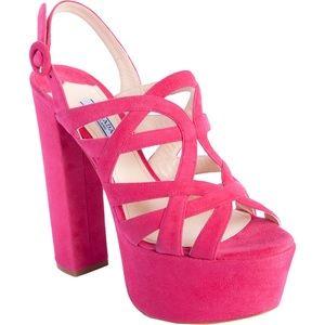 Prada Peoni Pink Suede Open Toe Platform Sandal