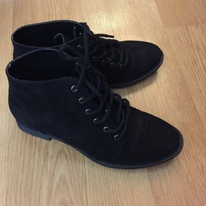 Black suede f21 lace up booties