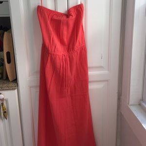 Strapless coral J. Crew summer maxi dress