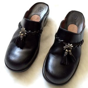 Ariat Shoes - Black Leather Clogs w/ Silver Hardware and Tassels