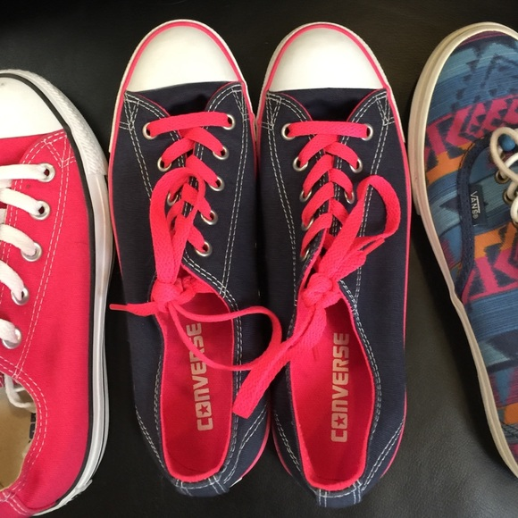 3648e2a0bd04 Converse Shoes - Converse Blue with hot pink laces like new