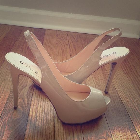c69c6e73726 Guess Shoes - GUESS nude sling-back peep toe pumps