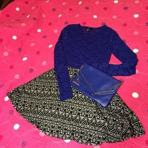 Royal Blue Lace Forever 21 Crop top Med