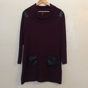 Style & Co Dresses & Skirts - Burgundy Leather Cowl Neck Sweater Dress
