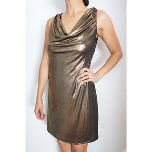 ABS Allen Schwartz Dresses & Skirts - NWOT ABS metallic gold halter dress