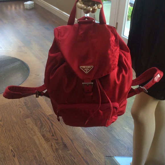 prada red backpack