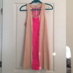 Peach and hot pink dress, size M.