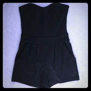 Other - NWOT Black Jersey Dressy Strapless Romper Sz S