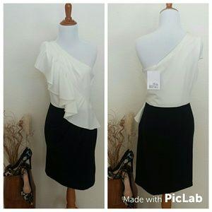NWT🎀Ivory/Black One Shoulder dress