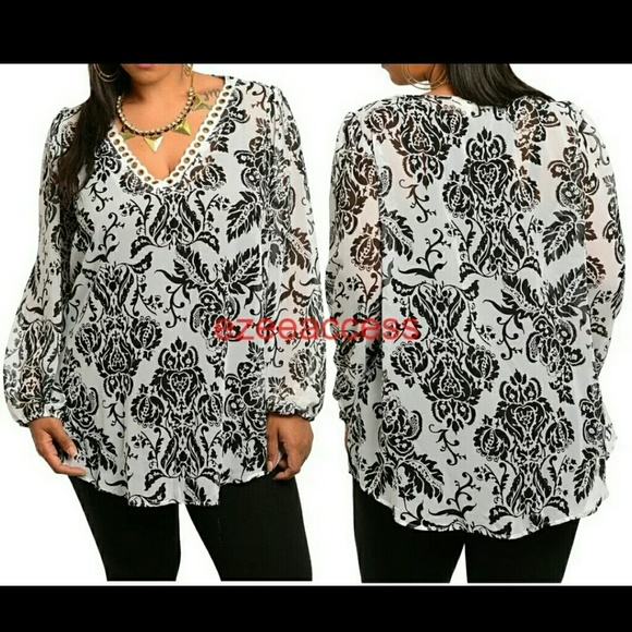 0c7d46b0ed432 Plus size sheer tunic top blouse long sleeves NWT