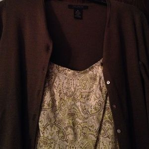The Limited paisley dress and 3/4 sleeve cardigan
