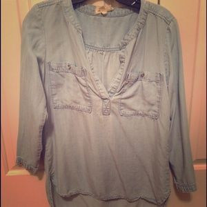 Chambray pullover top from Anthropologie