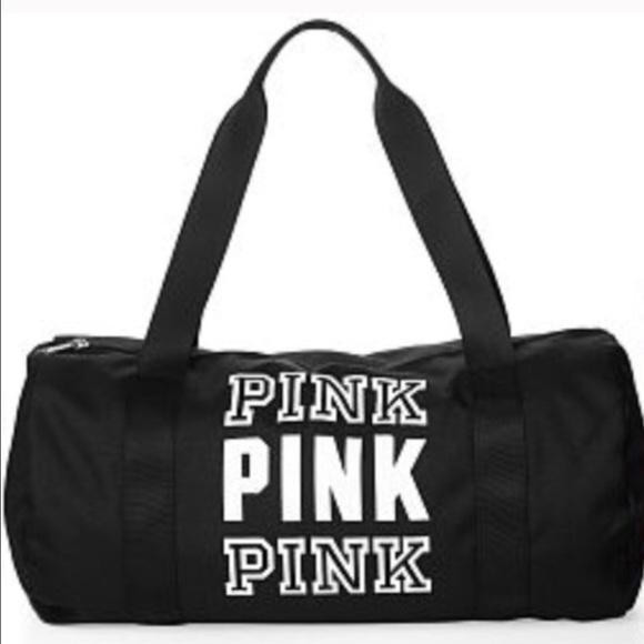 5a7d5c973 PINK Victoria's Secret Accessories   Vs Pink Duffle Bag Black Brand ...