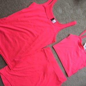 Hot Neon Pink tank/skirt 2 piece