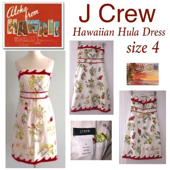 J Crew Hawaiian Hula Print Dress