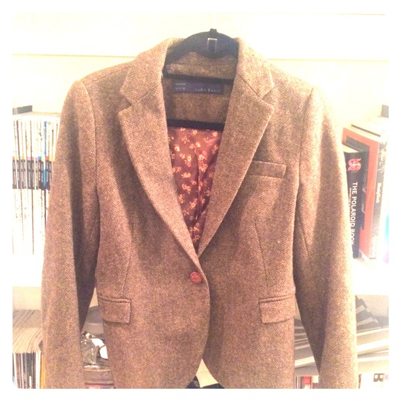 Zara Jackets Coats Tweed Jacket With Leather Elbow Patches