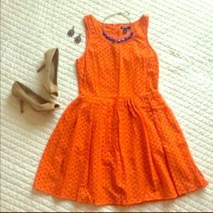 Orange old navy eyelet dress Zooey Sz 0