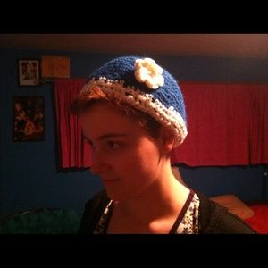handmade by me Accessories - Blue and white beanie with flower decoration