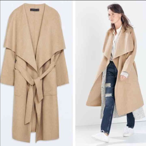 Zara - Zara Camel Wool Coat waterfall from Alison's closet on Poshmark