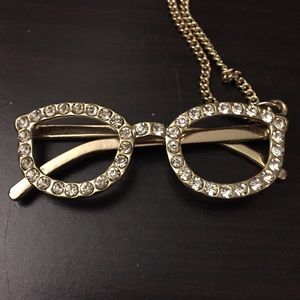 Gold glasses with rhinestones necklace