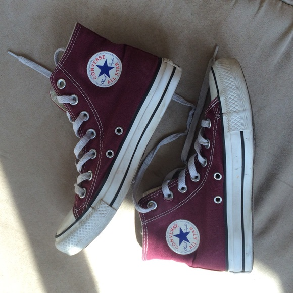 37a63ed5da8c Converse Shoes - Burgundy Converse Hi Top