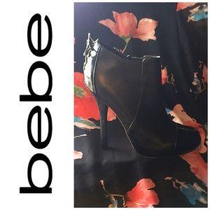 Round Toe Black Leather BeBe Booties